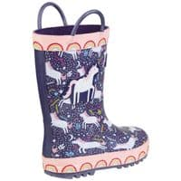 Cotswold Sprinkle Childrens Wellingtons Purple / Pink & White